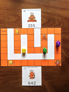 Fall Monsters Place Value to 1,000 Task Cards