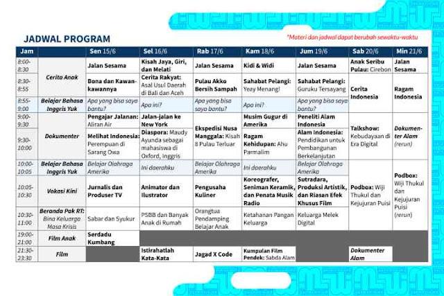 Jadwal Belajar dari Rumah TVRI