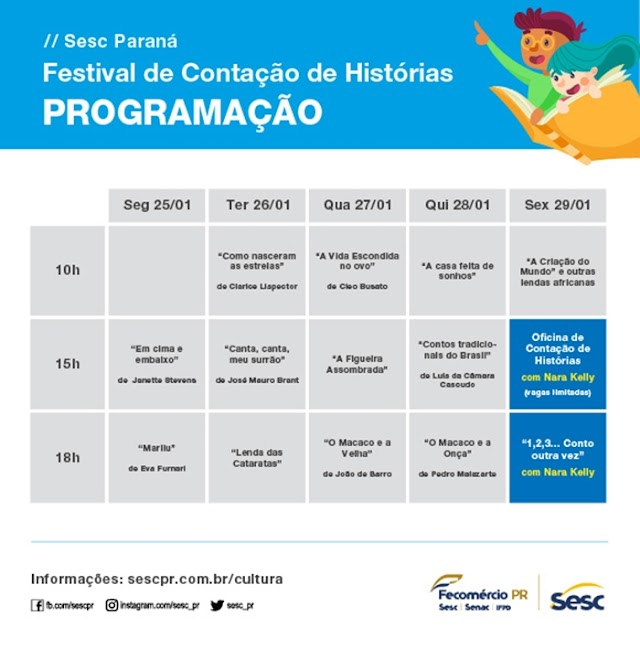 Sesc Paraná promove Festival de Contação de Histórias