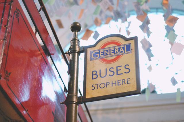 Vintage London bus stop