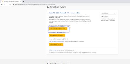 Azure Exam Pearson VUE link