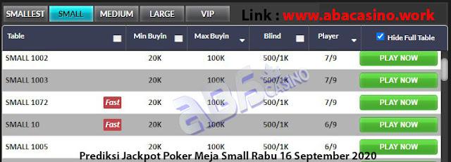 prediksi jackpot poker meja small rabu 16 september 2020
