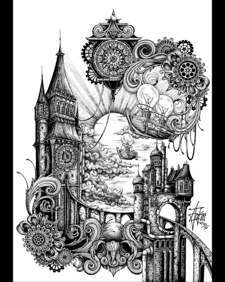 01-Steampunk-clock-tower-Zakrii-www-designstack-co