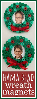 Hama bead Christmas wreath magnets