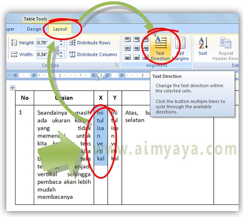 Cara Merotasi Arah Teks pada Tabel Microsoft Word | cara aimyaya ...