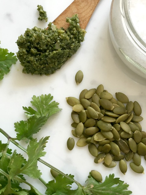 Pumpkin Seed Pesto with cilantro and lime can make a good meal great.