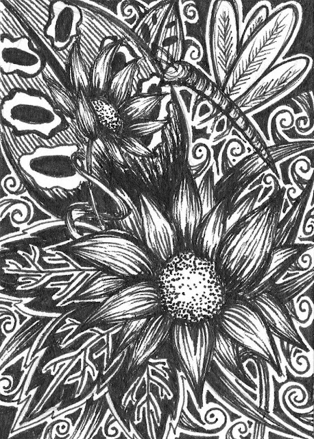 Anna Legaspi Original Art ACEO Pen and Ink Black and White Flowers and Dragonfly