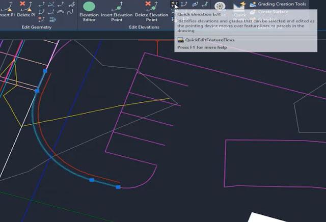 Quick elevation edit tool in Autodesk Civil 3D