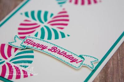 Swirly Bird Pinwheel Birthday Card by Stampin' Up! UK Demonstrator Bekka Prideaux