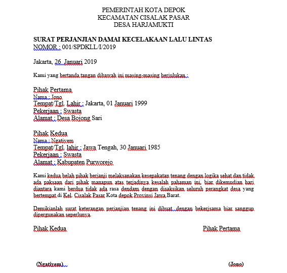Contoh Surat Perdamaian Kecelakaan Lalu Lintas Singkat Padat Dan Jelas Idokeren Com