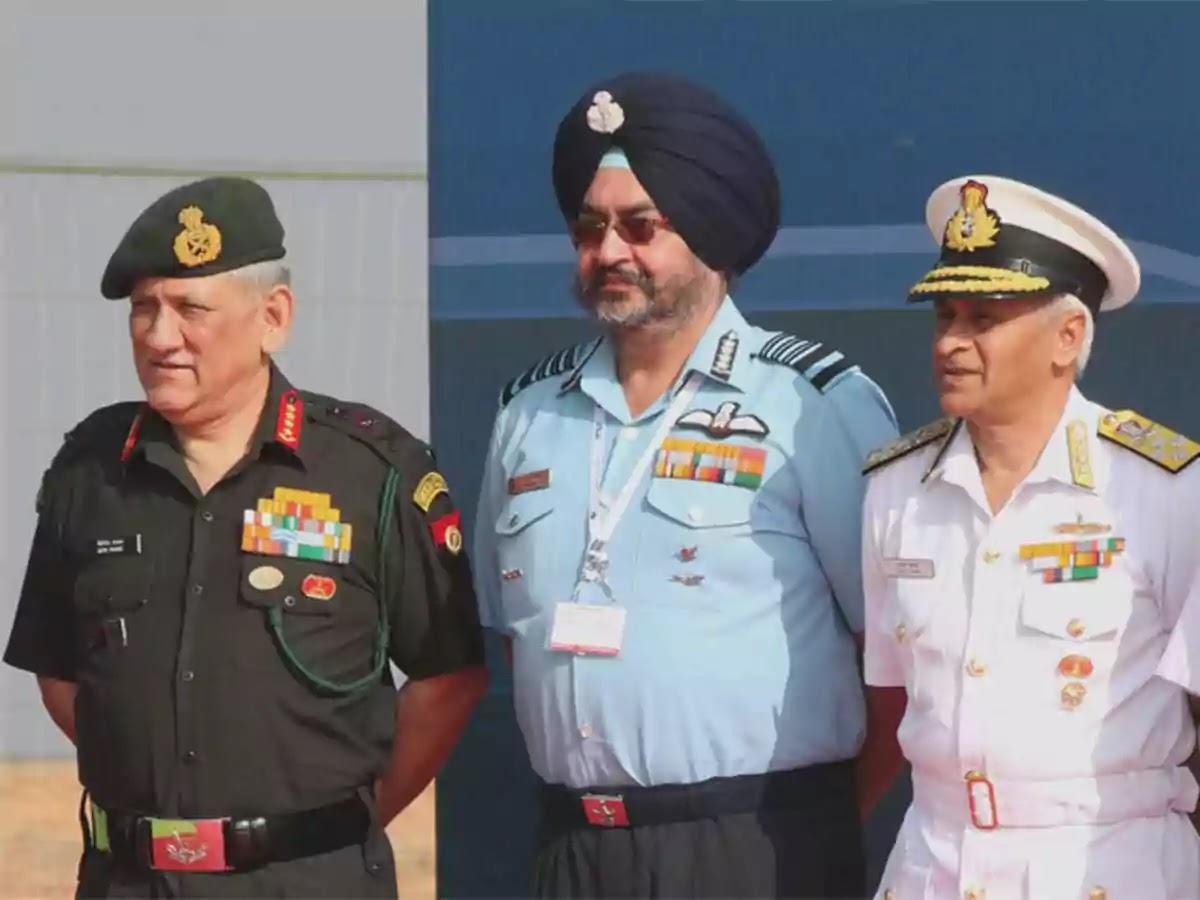 Indian Armed Forces Tri-Service Chiefs Bipin Rawat, Karambir Singh, Birender Singh Dhanoa