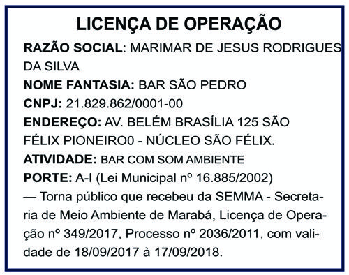 LICENÇA DE OPERAÇÃO - BAR SÃO PEDRO - MARABÁ/PA