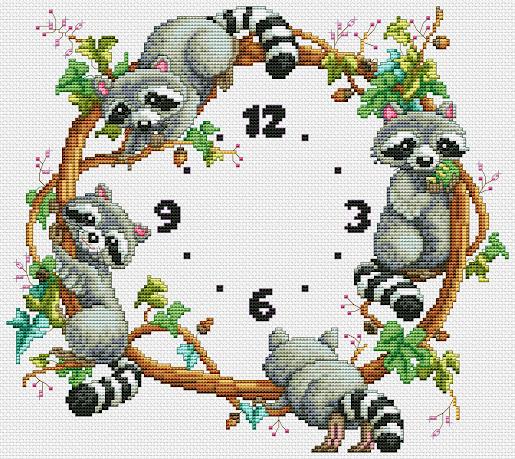 orologio a punto croce coi procioni