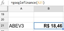 As planilhas do Google contam com a fórmula googlefinance. Aqui ela mostra a cotação da ação ABEV3