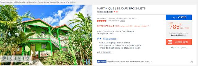 Bungalows vert Hotel Bambou en Martinique