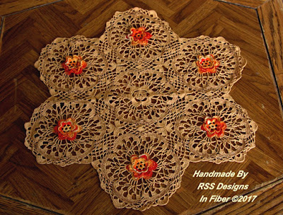 Sparkling 3D Flowers on Tan Lace Table Topper