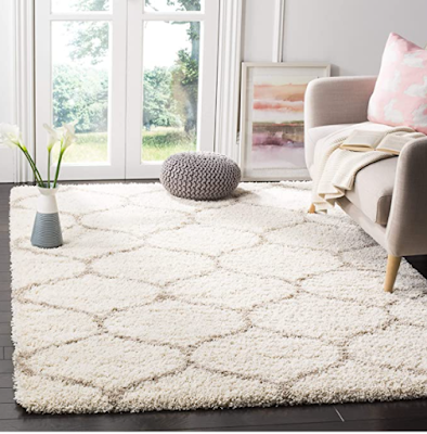 Sweet Homes Geometric Moroccan Carpet Made by Traditional Weavers in India Bhadohi with Microfiber Material