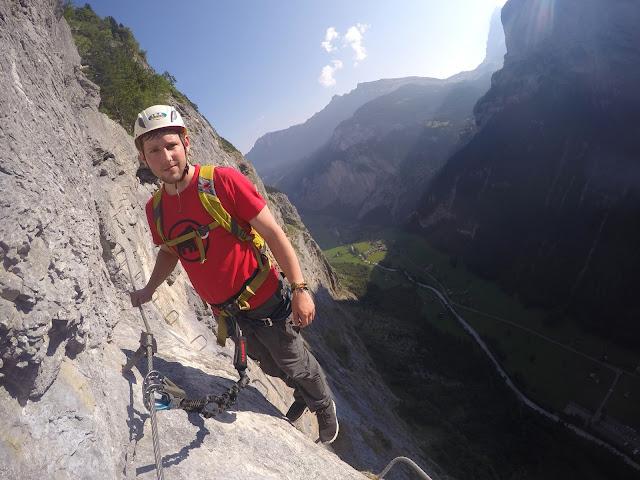 Via Ferrata, Klettersteig, Hike, Climbing, Scrambling, mountaineer, mountain, extreme, adrenaline, adventure, Explore, Murren, Gimmelwald, Lauterbrunnen, Interlaken, Switzerland, Bern, Swiss Alps, Bernese Alps, Alpine, hanging, Nepalese Bridge, tyrolean, cliff, BASE, ladders,