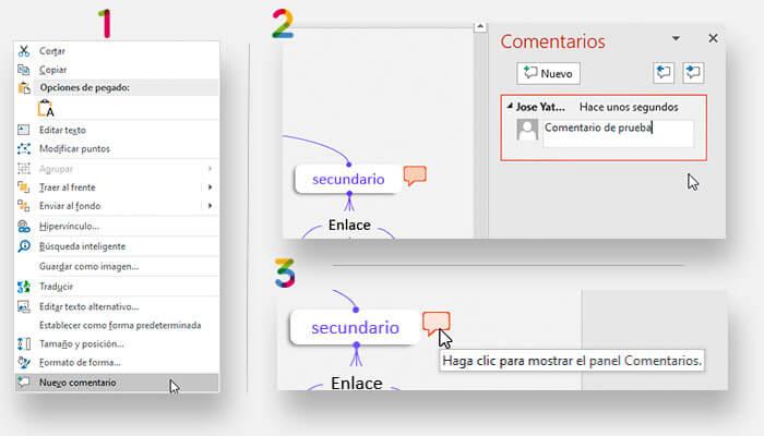 Usando la función de comentarios en un mapa conceptual hecho en PowerPoint