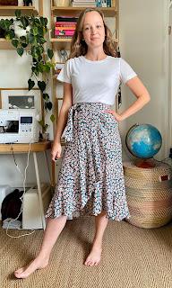"""""""Floral Viscose Crepe Made Label Frankie Wrap Skirt"""