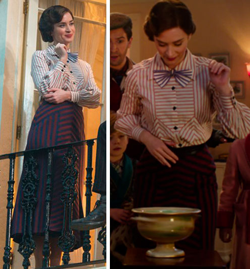 Figurino Mary Poppins com Emily Blunt
