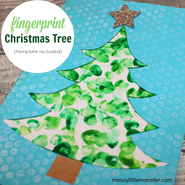 Fingerprint Christmas Tree Card Template