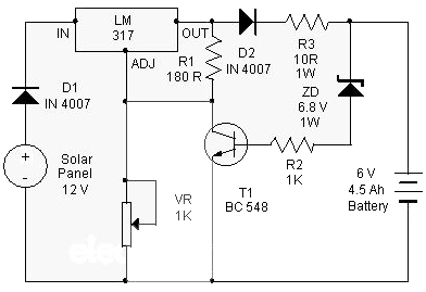 Solar Charger use IC LM317 Circuit diagram