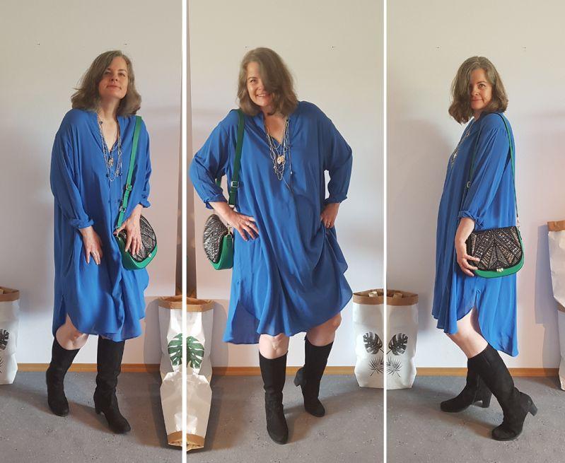 Oversized Hemdblusenkleid mit Zoe Lu (Body in grün) und Sparkling Star