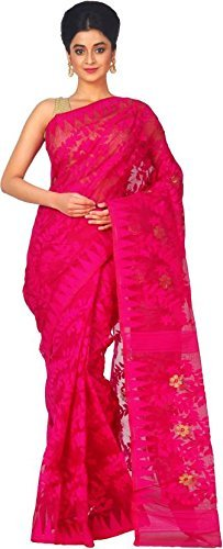 T.J. SAREES Reshom Dhakai Jamdani Saree (Tj500049_Pink_Free Size)
