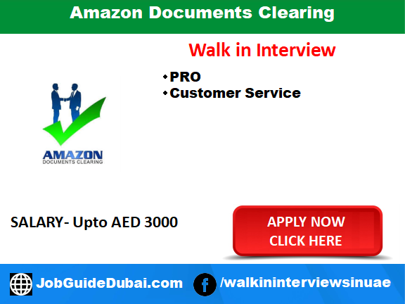 walk in interview for  customer service and PRO at Amazon Documents Clearing