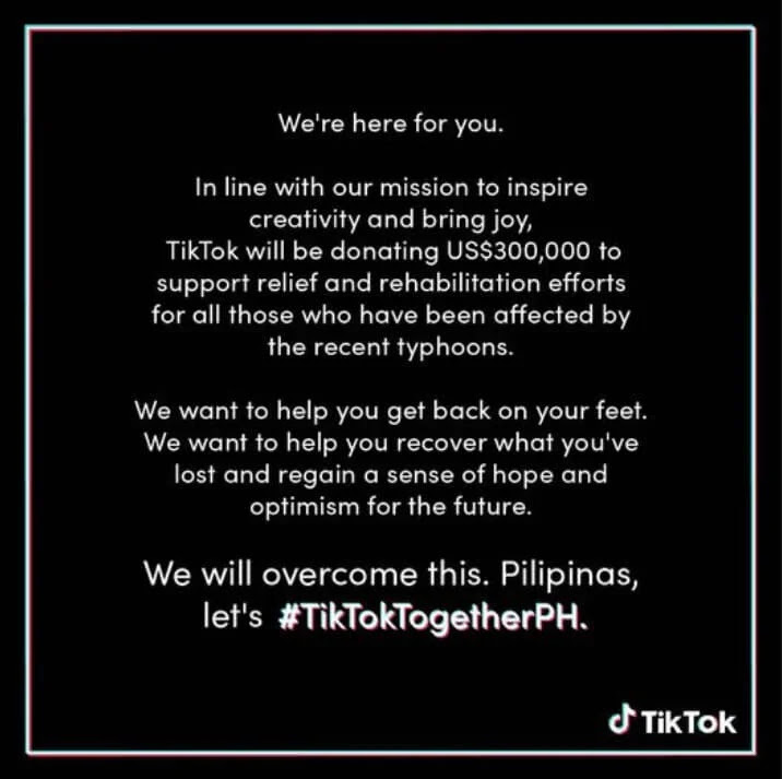 TikTok Donates US$300,000 for Typhoon Victims in the Philippines