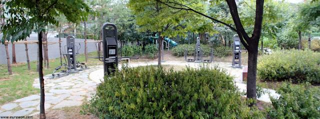Aparatos de gimnasia en un parque coreano