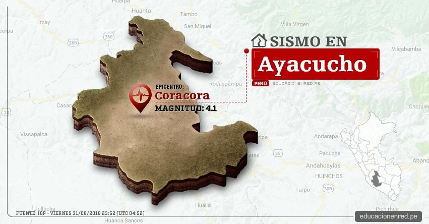 Temblor en Ayacucho de magnitud 4.1 (Hoy Viernes 31 Agosto 2018) Sismo EPICENTRO Coracora - Parinacochas - IGP - www.igp.gob.pe
