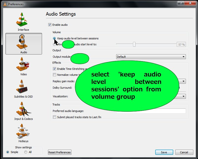 steps to change volume from default to between session in