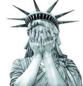 The Statue of Liberty weeping