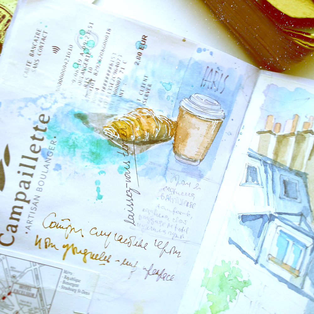 Paris watercolor travel Sketchbook