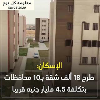 #الإسكان.. طرح 18 ألف شقة بـ 10 محافظات بتكلفة 4.5 مليار جنية