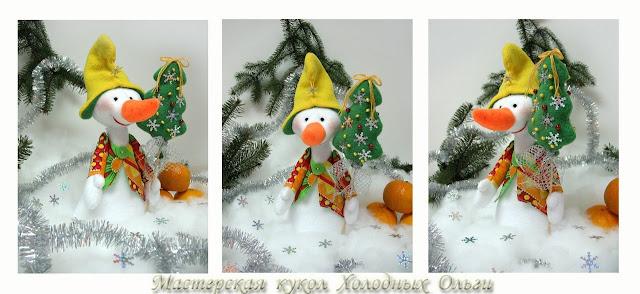 Снеговик в коллаже