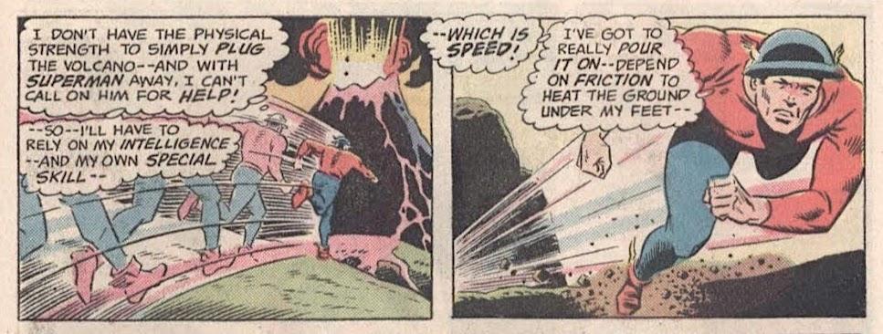 The original Flash, Jay Garrick, speeding towards an erupting volcano