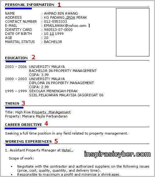 resume format  download format resume kerajaan