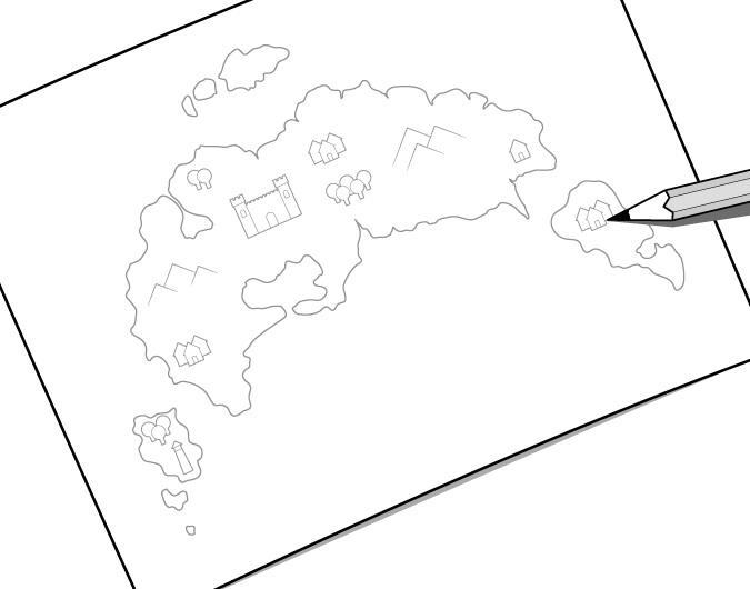 Contoh menggambar peta fantasi