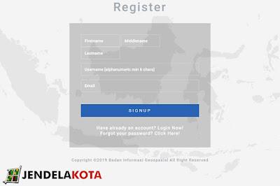 mengisi halaman register untuk mendownload peta rbi