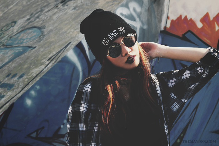 Brunei Style Blogger May Cho collaborates with Revolution | Grunge, sneakers, Nike Air Force 1 07, plaid, rounded sunglasses, beanie, bad hair day, fishnet stockings, ripped denim, shorts, street style, fashion, The Mayden, Brunei Skate Park