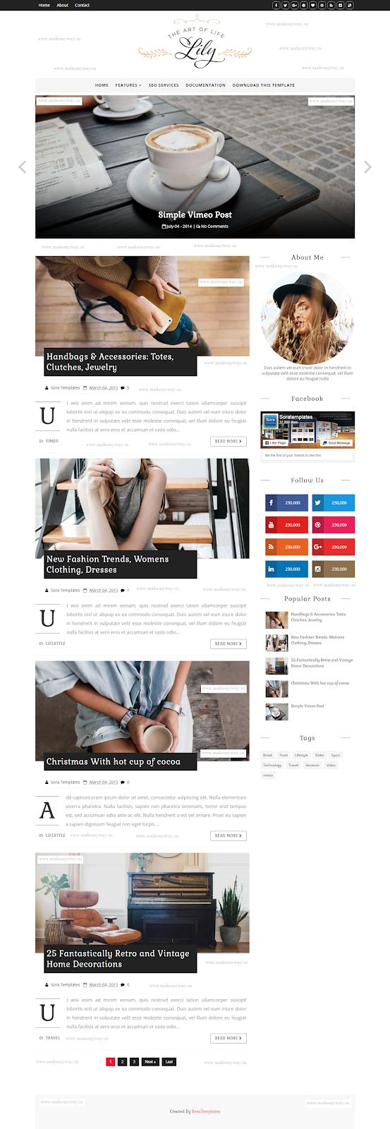 Lily Fashion Blogger Theme: Premium Download Free