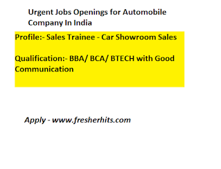 Jobs Opening For Car Showroom Sales Trainee