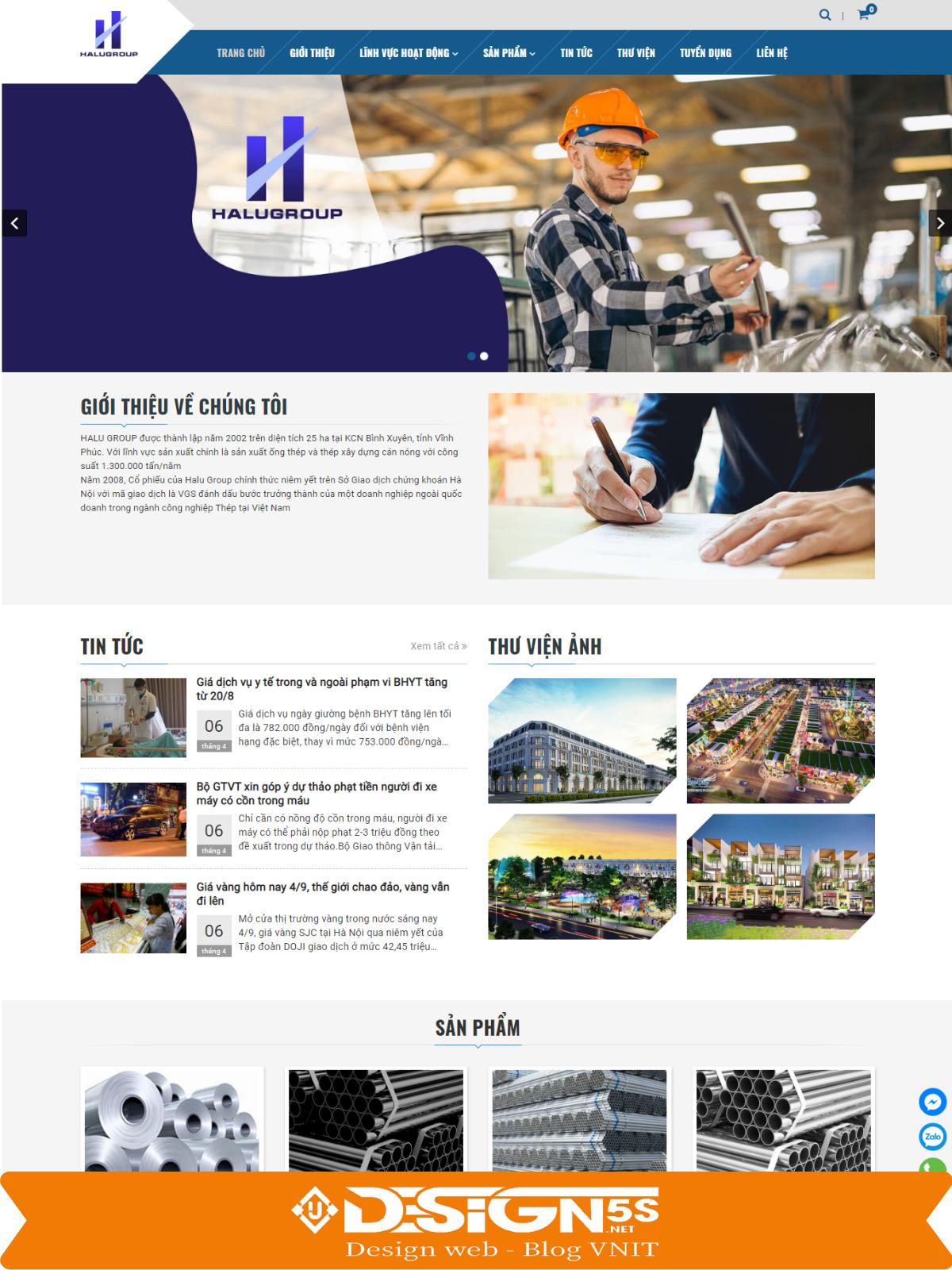 Mẫu Website công ty kèm bán sản phẩm Halugroup