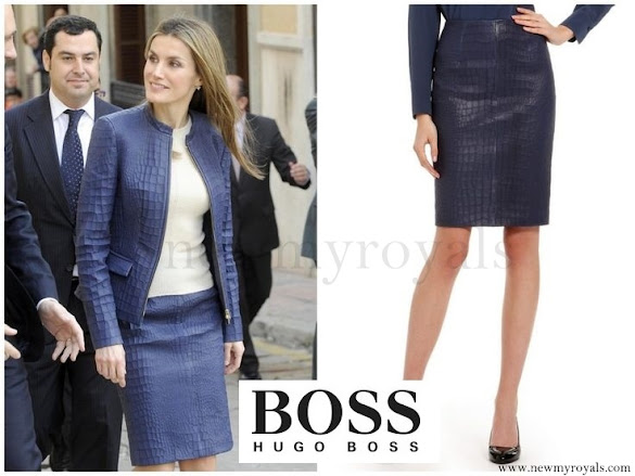 Queen Letizia wore Hugo Boss Skirt