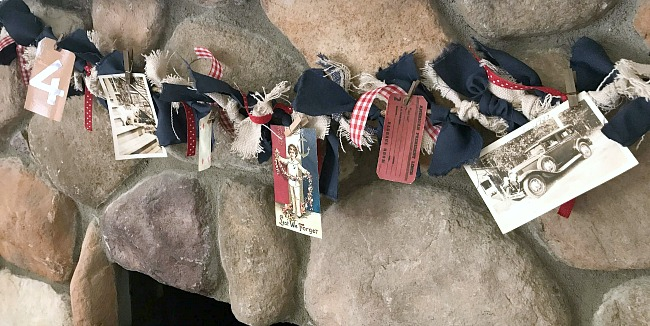 DIY Red, White and Blue Rag Garland with Photos For the Fourth of July