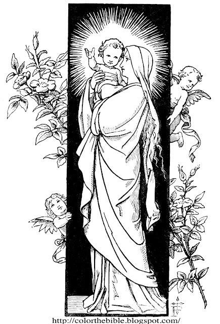 coloring pages bible jesus mary | The Baby Jesus and His Mother Mary | Color The Bible