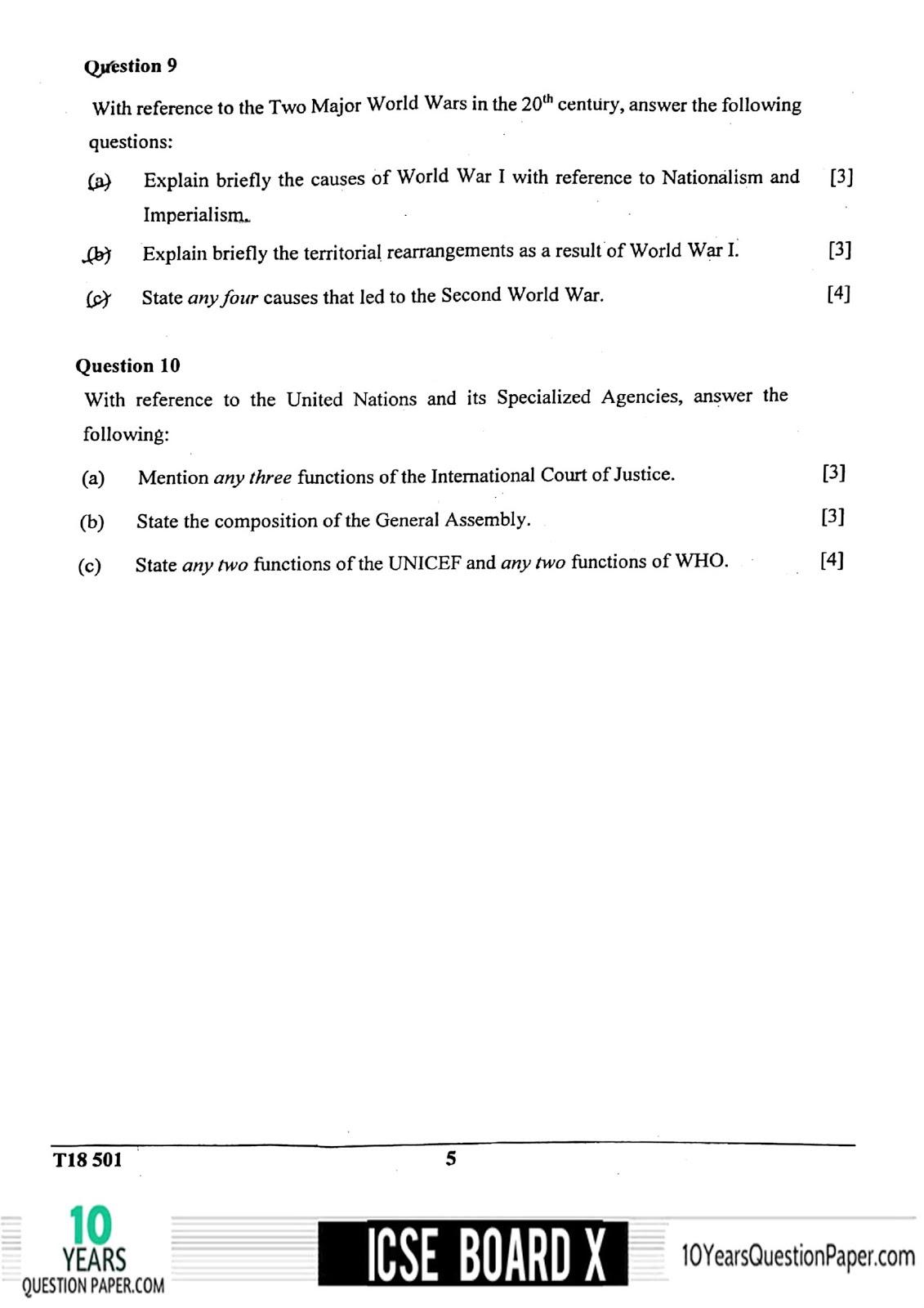 Icse History Amp Civics H C G Paper 1 Question Paper For Class 10